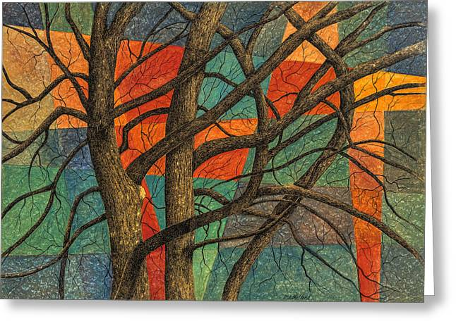 Bare Trees Mixed Media Greeting Cards - Adoration Greeting Card by MaryAnn Stafford