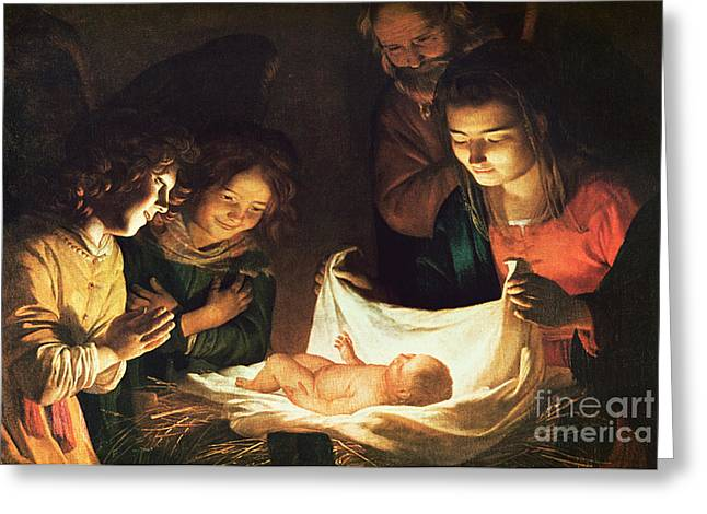 Child Jesus Greeting Cards - Adoration of the baby Greeting Card by Gerrit van Honthorst