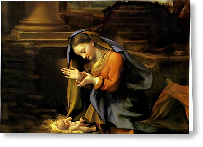 Adoration of the Child Greeting Card by Correggio