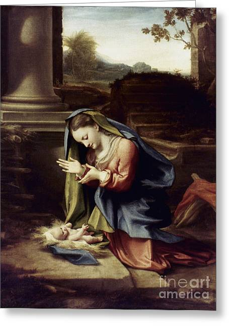 1518 Greeting Cards - Adoration Of The Child Greeting Card by Granger