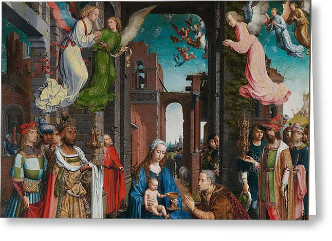 Religious Angel Art Greeting Cards - Adoration of the Magi Greeting Card by Jan Gossaert