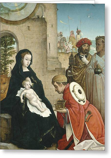 Lord Of Lords. King Of Kings Greeting Cards - Adoration of the Magi Greeting Card by Juan de Flandes