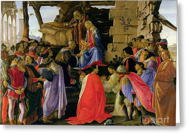 Christ Child Greeting Cards - Adoration of the Magi Greeting Card by Sandro Botticelli
