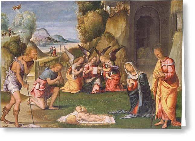 Shepherds Greeting Cards - Adoration of the Shepherds Greeting Card by Benvenuto Tisi da Garofalo