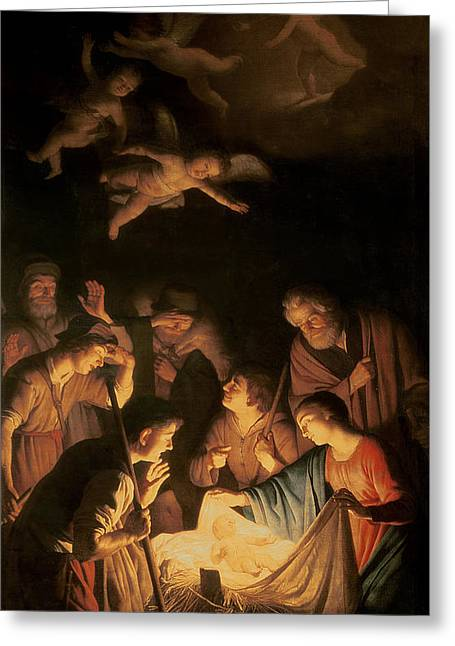 Religious Paintings Greeting Cards - Adoration of the Shepherds Greeting Card by Gerrit van Honthorst