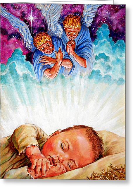 Baby Jesus Greeting Cards - Adore Your Saviour Greeting Card by John Lautermilch