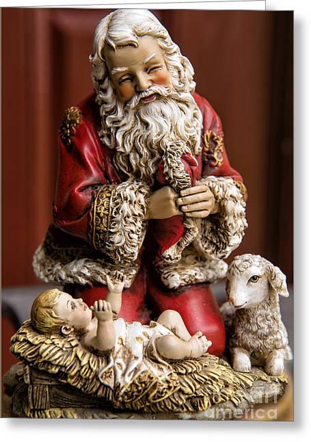 Adoring Santa Greeting Card by Bonnie Barry