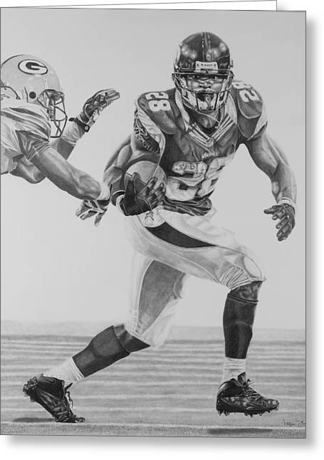Adrian Peterson Greeting Card by Philip Mack