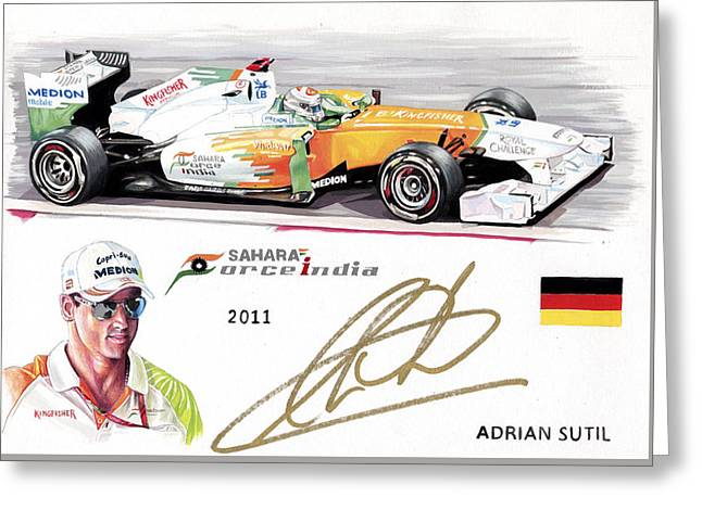 Autograph Paintings Greeting Cards - Adrian Sutil Greeting Card by Karl Hamilton-Cox
