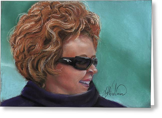 Sunglasses Pastels Greeting Cards - Adrianne Greeting Card by Leah Wiedemer