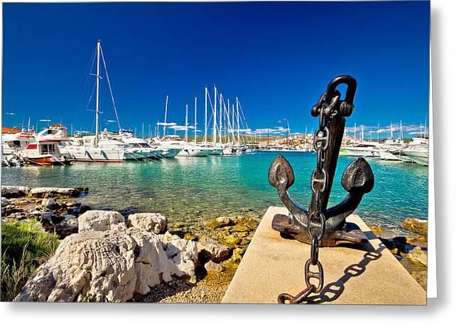 Docked Sailboats Greeting Cards - Adriatic town of Rogoznica sailing harbor Greeting Card by Dalibor Brlek
