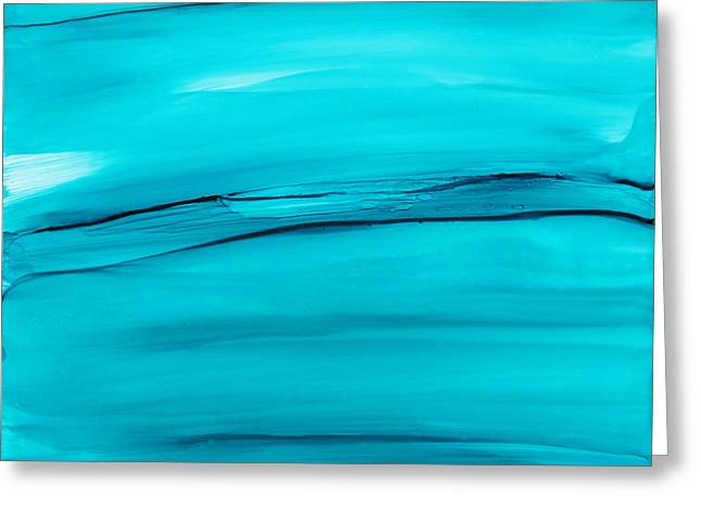 Alcohol Inks Greeting Cards - Adrift in a Sea of Blues Abstract Greeting Card by Nikki Marie Smith