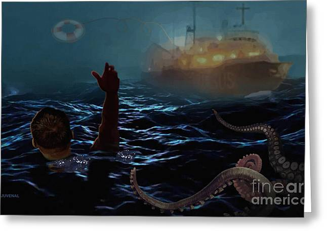 Lifeline Greeting Cards - Adrift in the Fog Greeting Card by Joseph Juvenal