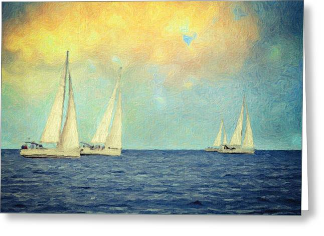 Canvas Greeting Cards - Adrift Greeting Card by Taylan Soyturk