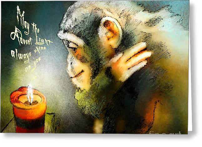 Advent Light Greeting Card by Miki De Goodaboom