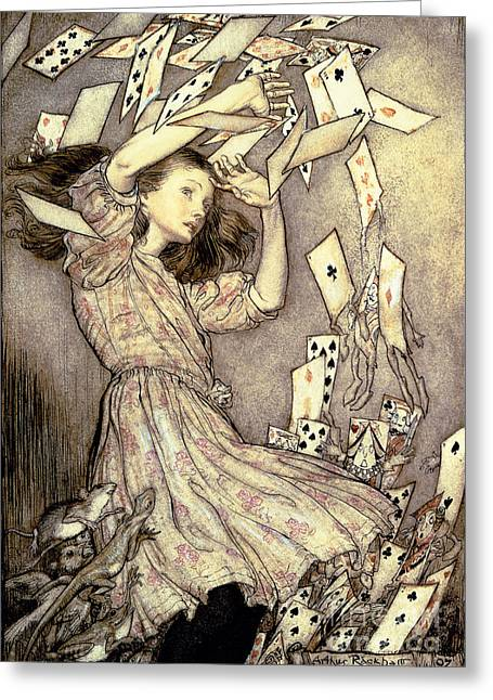 Fairies Drawings Greeting Cards - Adventures in Wonderland Greeting Card by Arthur Rackham