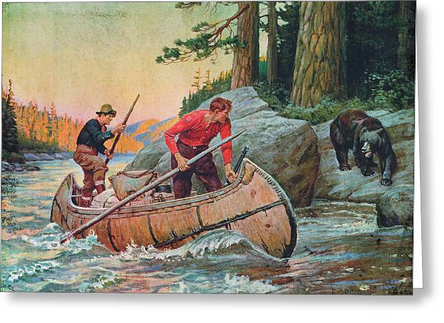 Voyageurs Paintings Greeting Cards - Adventures On The Nipigon Greeting Card by JQ Licensing