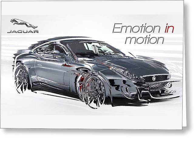 Jaguars Mixed Media Greeting Cards - Advert - Jaguar Emotion in Motion Greeting Card by The Jones Collection