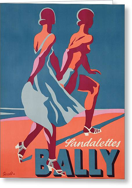 Lovers Greeting Cards - Advertisement for Bally sandals Greeting Card by Druck Gebr