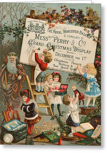 Eve Drawings Greeting Cards - Advertisement for The Royal Worcester Bazaar Greeting Card by English School