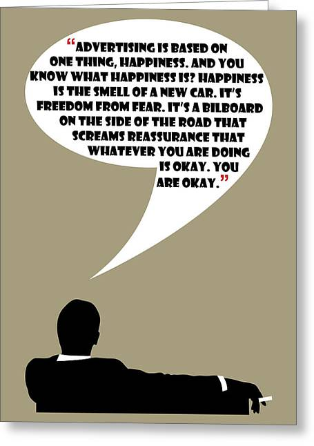 Advertising Is Happiness - Mad Men Poster Don Draper Quote Greeting Card by Beautify My Walls