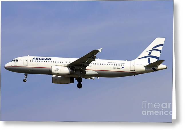 Aegean Airlines Airbus A320 Greeting Card by Amos Dor