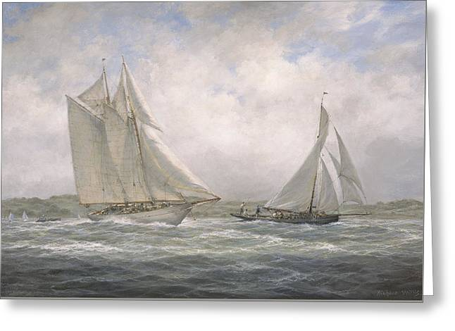 Schooner Paintings Greeting Cards - Aello Beta and Marigold off the Isle of Wight Greeting Card by Richard Willis