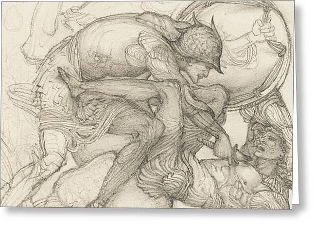 Aeneas Slaying Mezentius Greeting Card by Sir Edward Coley Burne-Jones