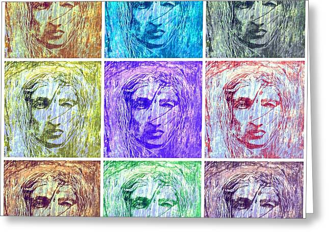 Statue Portrait Greeting Cards - Aeolus God Of Wind Collage Greeting Card by Rich  Ray Art
