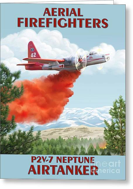 Wildfires Greeting Cards - Aerial Firefighters P2V Neptune Greeting Card by Airtanker Art