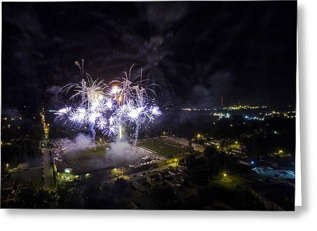 Independance Greeting Cards - Aerial Fireworks v3 Greeting Card by Robert Turek