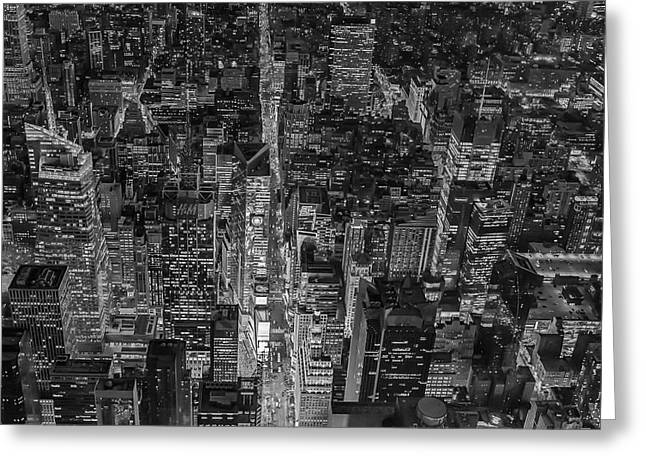 Aerial New York City 42nd Street Bw Greeting Card by Susan Candelario