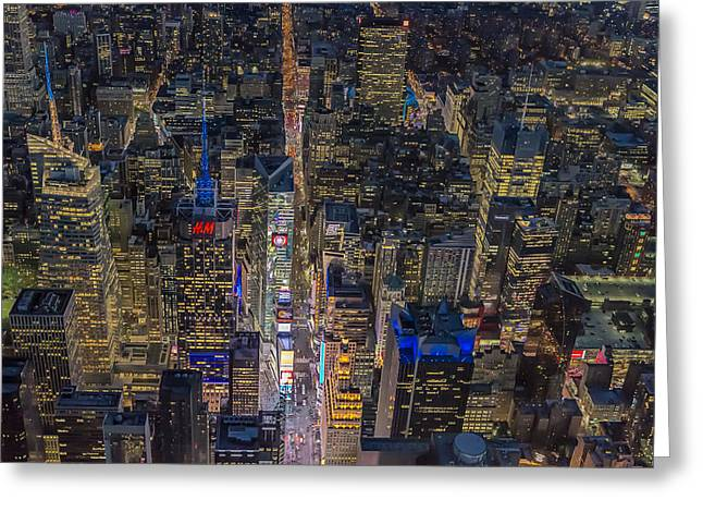 Aerial New York City 42nd Street Greeting Card by Susan Candelario