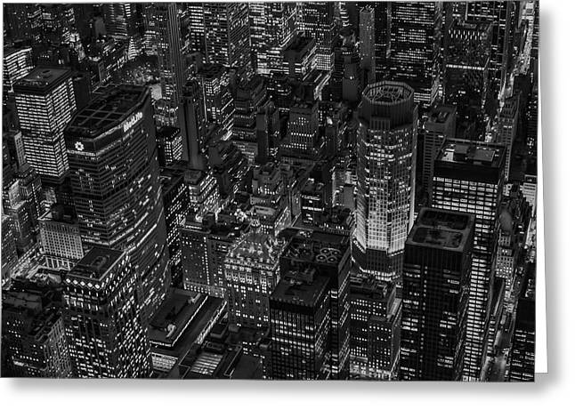 Aerial New York City Skyscrapers Bw Greeting Card by Susan Candelario