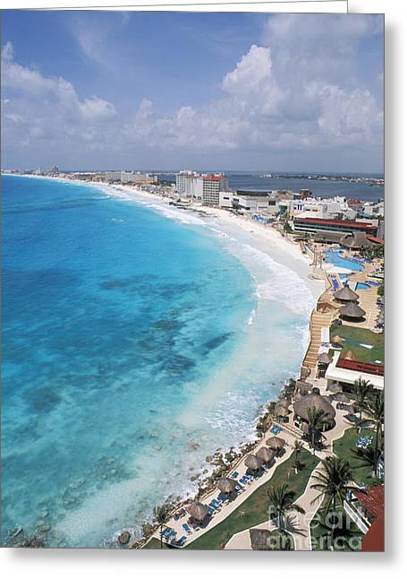 Sunbathing Greeting Cards - Aerial Of Cancun Greeting Card by Bill Bachmann - Printscapes