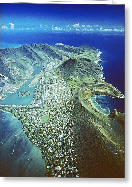 Mountainside Art Greeting Cards - Aerial Of Eastern Oahu Greeting Card by Carl Shaneff - Printscapes