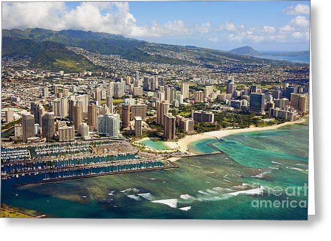 Aerial Of Honolulu Greeting Card by Ron Dahlquist - Printscapes