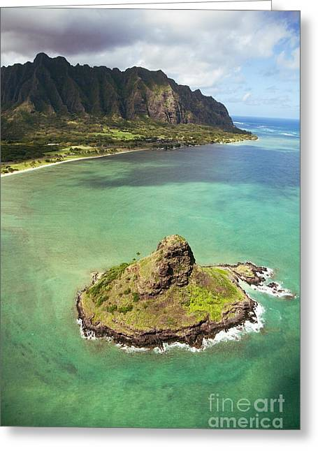 Green Hat Art Greeting Cards - Aerial of Mokolii Island Greeting Card by Ron Dahlquist - Printscapes