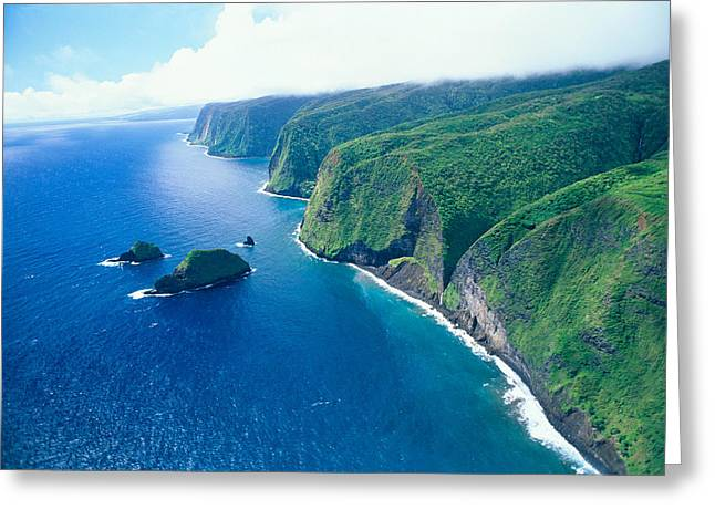 Mountainside Art Greeting Cards - Aerial Of North Shore Greeting Card by Peter French - Printscapes