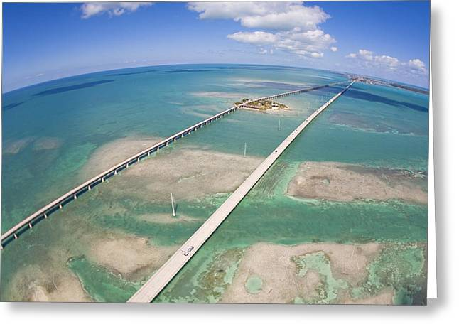 Aerial Of Seven Mile Bridge At Extreme Greeting Card by Mike Theiss