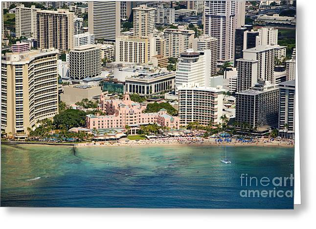 Ron Ron Greeting Cards - Aerial of Waikiki Hotels Greeting Card by Ron Dahlquist - Printscapes