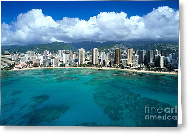 Far Above Greeting Cards - Aerial Of Waikiki Greeting Card by Peter French - Printscapes
