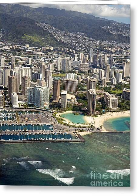 Aerial Of Waikiki Greeting Card by Ron Dahlquist - Printscapes