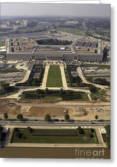Pentagon Greeting Cards - Aerial Photograph Of The Pentagon Greeting Card by Stocktrek Images