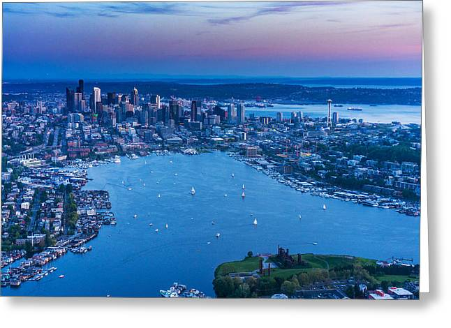 Aerial Seattle And Lake Union Greeting Card by Mike Reid