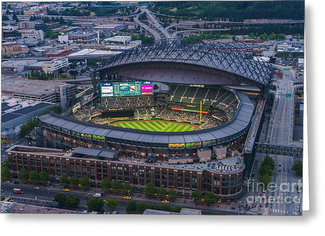 Center Field Greeting Cards - Aerial Seattle Safeco Field Mariners Greeting Card by Mike Reid