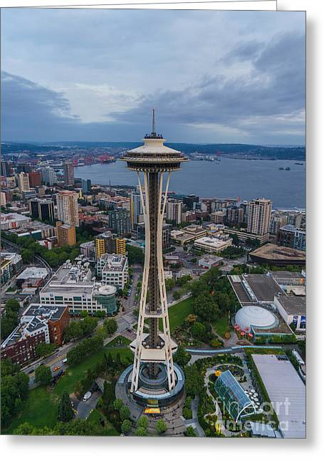 Center Field Greeting Cards - Aerial Seattle Space Needle Greeting Card by Mike Reid