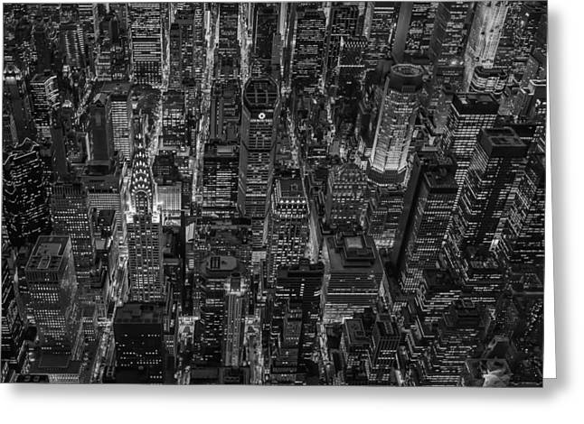 Chrysler Building Greeting Cards - Aerial View Midtown Manhattan NYC BW Greeting Card by Susan Candelario