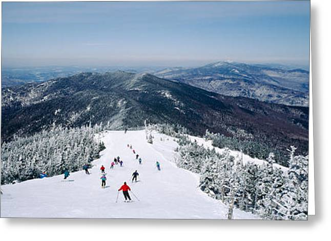 Downhill Skiing Greeting Cards - Aerial View Of A Group Of People Skiing Greeting Card by Panoramic Images