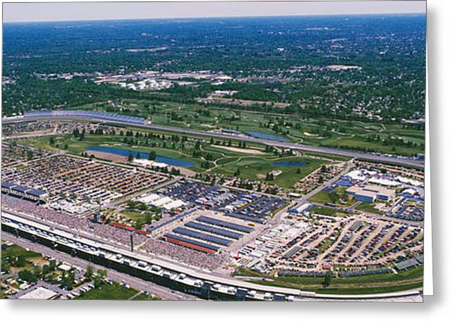 Indy Car Greeting Cards - Aerial View Of A Racetrack Greeting Card by Panoramic Images